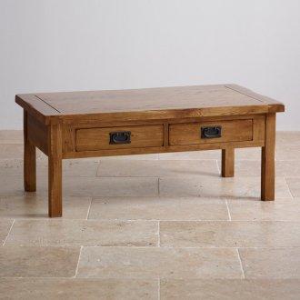 Original Rustic Solid Oak 4 Drawer Storage Coffee Table