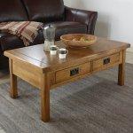 Original Rustic Solid Oak 4 Drawer Storage Coffee Table - Thumbnail 2