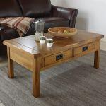 Original Rustic Solid Oak 4 Drawer Storage Coffee Table - Thumbnail 3