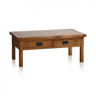 Original Rustic Solid Oak 4 Drawer Storage Coffee Table