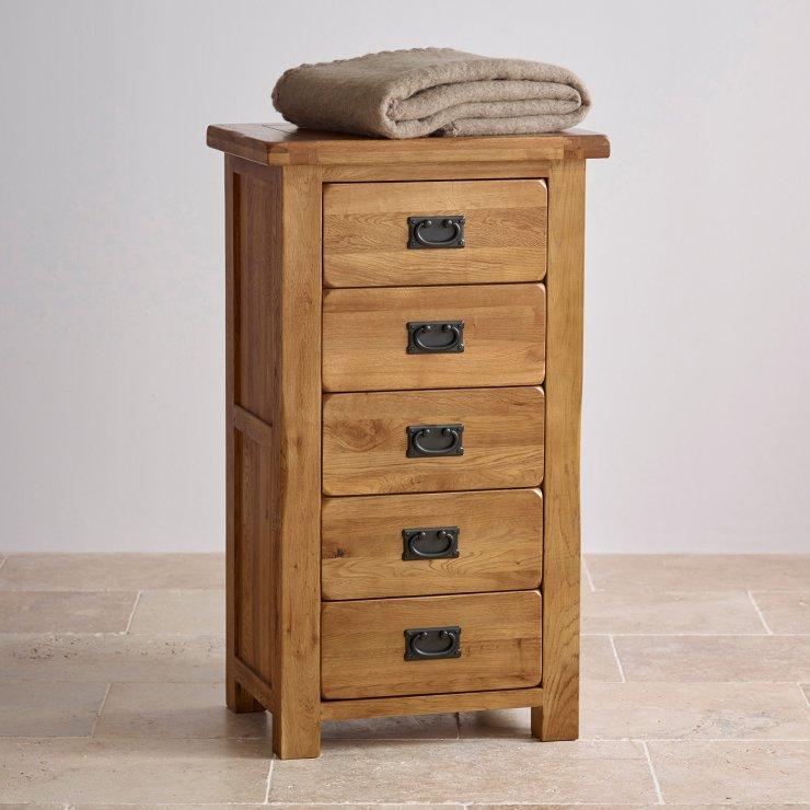 Original Rustic Solid Oak 5 Drawer Tallboy