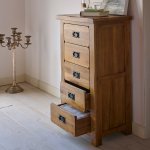 Original Rustic Solid Oak 5 Drawer Tallboy - Thumbnail 5