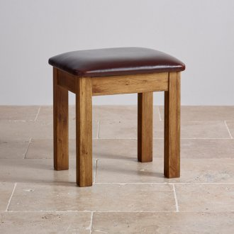 Quercus Rustic Solid Oak and Leather Dressing Table Stool