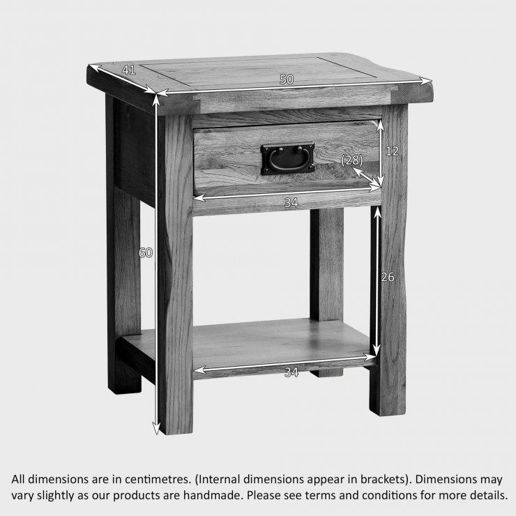 Original Rustic Solid Oak Bedside Table