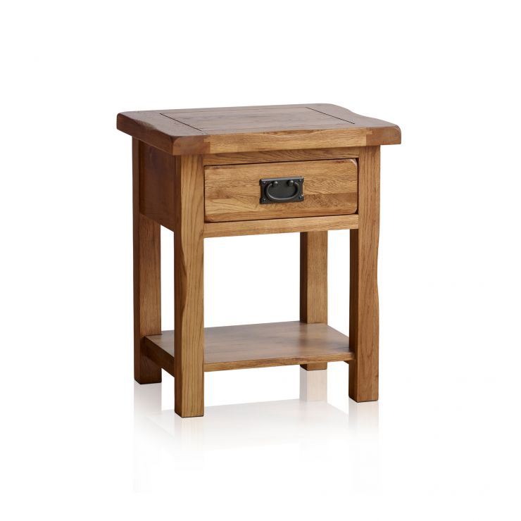 Original Rustic Solid Oak Bedside Table - Image 6