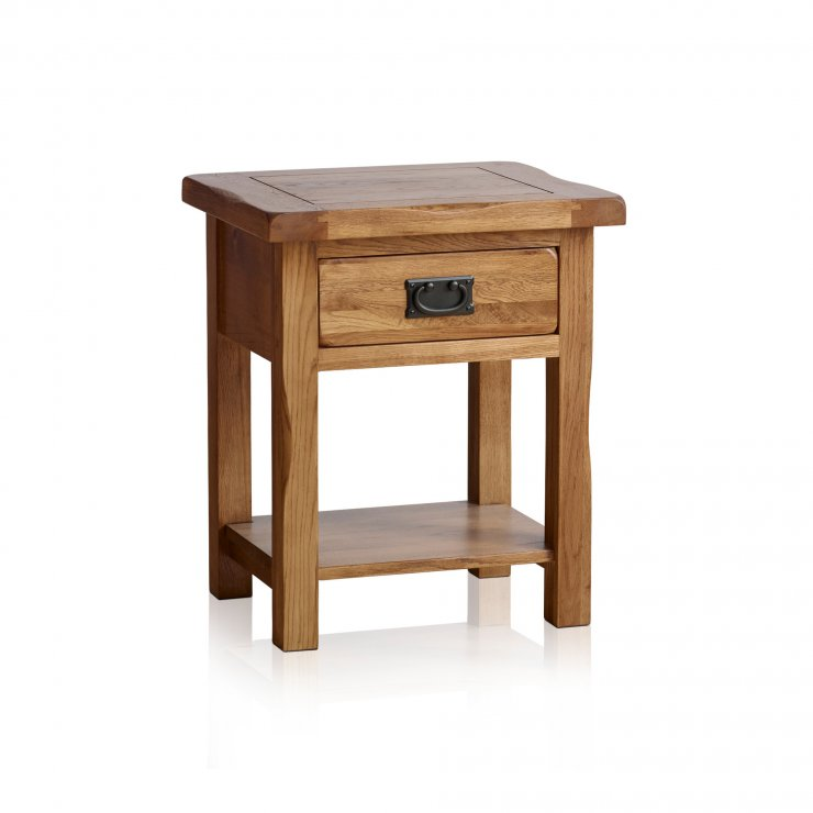 Original Rustic Solid Oak Bedside Table - Image 1