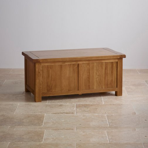 Original Rustic Solid Oak Blanket Box