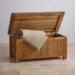 Original Rustic Solid Oak Blanket Box - Thumbnail 3