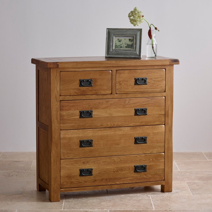 Original Rustic Solid Oak 3+2 Chest of Drawers