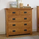 Original Rustic Solid Oak 3+2 Chest of Drawers  - Thumbnail 2