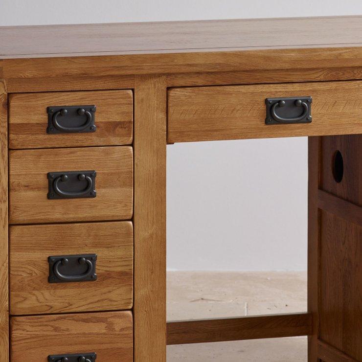 Original Rustic Solid Oak Computer Desk