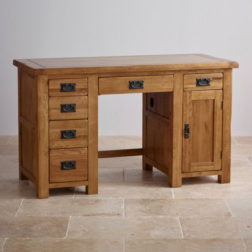 Original Rustic Solid Oak Computer Desk