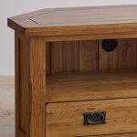 Original Rustic Solid Oak Corner TV Cabinet - Thumbnail 5