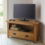 Original Rustic Solid Oak Corner TV Cabinet - Thumbnail 3