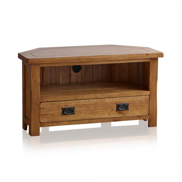 Original Rustic Solid Oak Corner TV Cabinet - Image 7