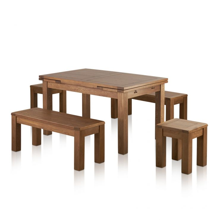 "Sherwood Oak Dining Set - 4ft 7"" Extending Table With 2 x 3ft 7"" Benches and 2 Square Stools"