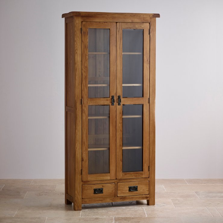 Express Delivery Original Rustic Solid Oak Glazed Display Cabinet