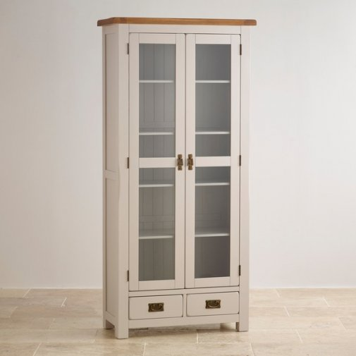 Kemble Rustic Solid Oak and Painted Glazed Display Cabinet