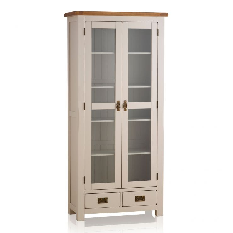 Kemble Rustic Solid Oak and Painted Glazed Display Cabinet - Image 4