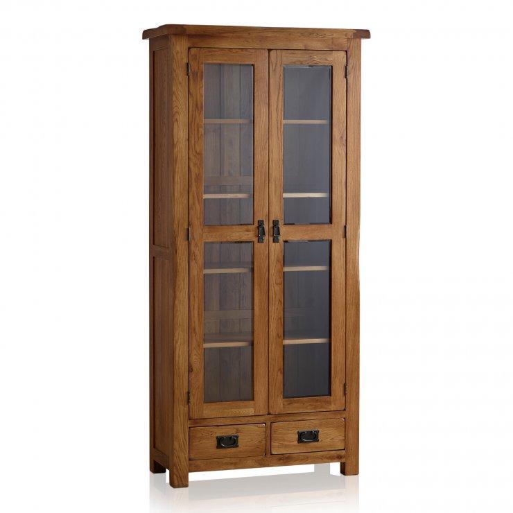 Original Rustic Solid Oak Glazed Display Cabinet - Image 7