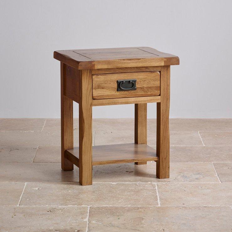Original Rustic Lamp Table in Solid Oak | Oak Furniture Land