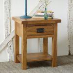 Original Rustic Solid Oak Lamp Table - Thumbnail 2