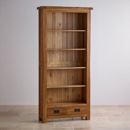 Original Rustic Solid Oak Tall Bookcase