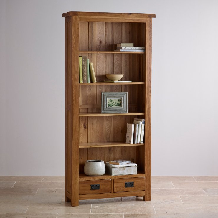 Original Rustic Solid Oak Tall Bookcase