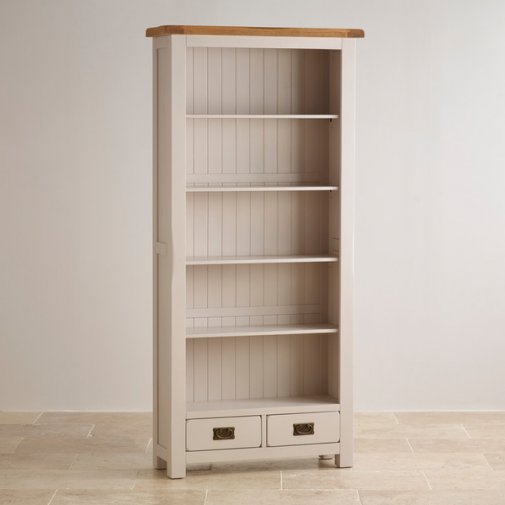 Kemble Rustic Solid Oak and Painted Tall Bookcase
