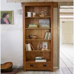 Original Rustic Solid Oak Tall Bookcase - Thumbnail 3