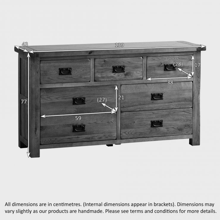 Original Rustic Solid Oak 3+4 Chest of Drawers
