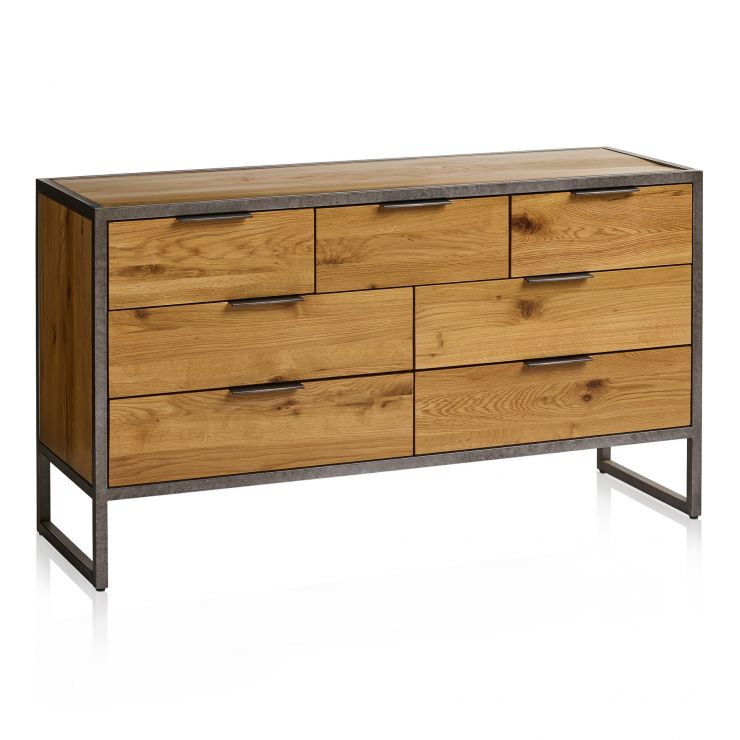 Brooklyn Natural Solid Oak and Metal 3+4 Chest of Drawers - Image 1