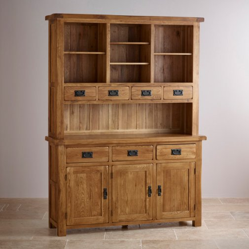Original Rustic Solid Oak Large Dresser
