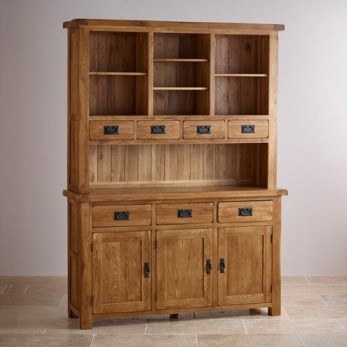 Original Rustic Solid Oak Large Dresser