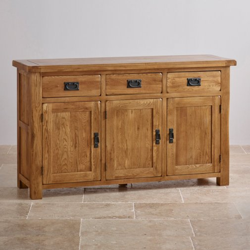 Original Rustic Solid Oak Large Sideboard