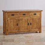 Original Rustic Solid Oak Large Sideboard - Thumbnail 2