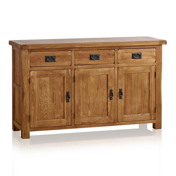 Original Rustic Solid Oak Large Sideboard - Image 1