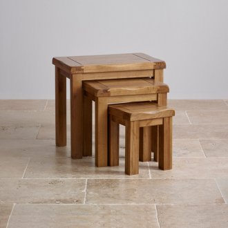 Original Rustic Solid Oak Nest of Tables