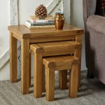 Original Rustic Solid Oak Nest of Tables - Thumbnail 5