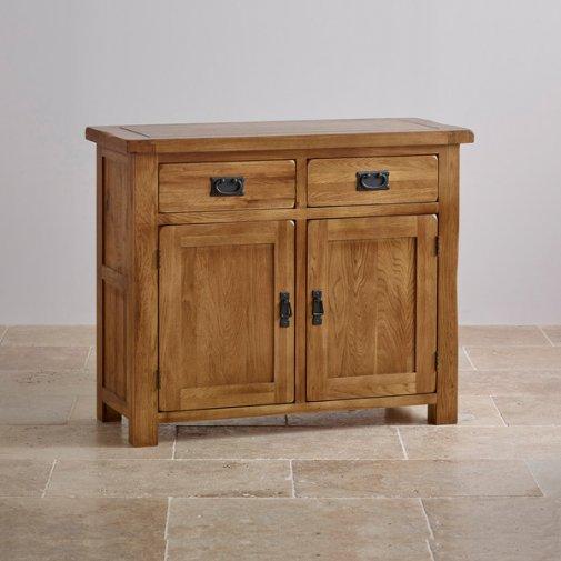 Original Rustic Solid Oak Small Sideboard