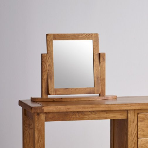 Original Rustic Solid Oak Dressing Table Mirror