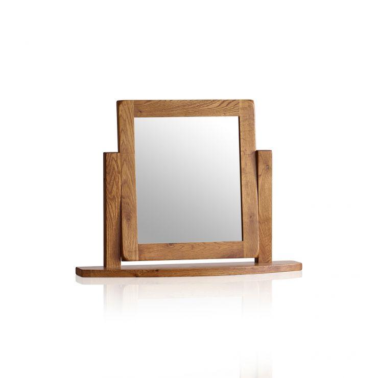 Original Rustic Solid Oak Dressing Table Mirror - Image 4
