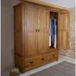 Original Rustic Solid Oak Triple Wardrobe - Thumbnail 2