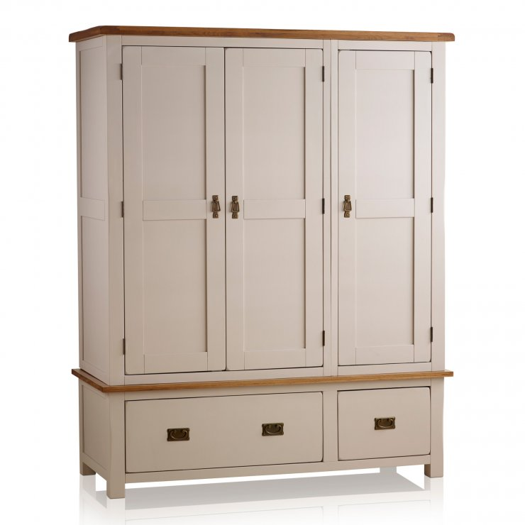 Kemble Rustic Solid Oak and Painted Triple Wardrobe - Image 3