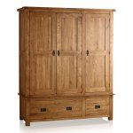 Original Rustic Solid Oak Triple Wardrobe - Thumbnail 1