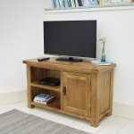 Original Rustic Solid Oak TV Cabinet - Thumbnail 5