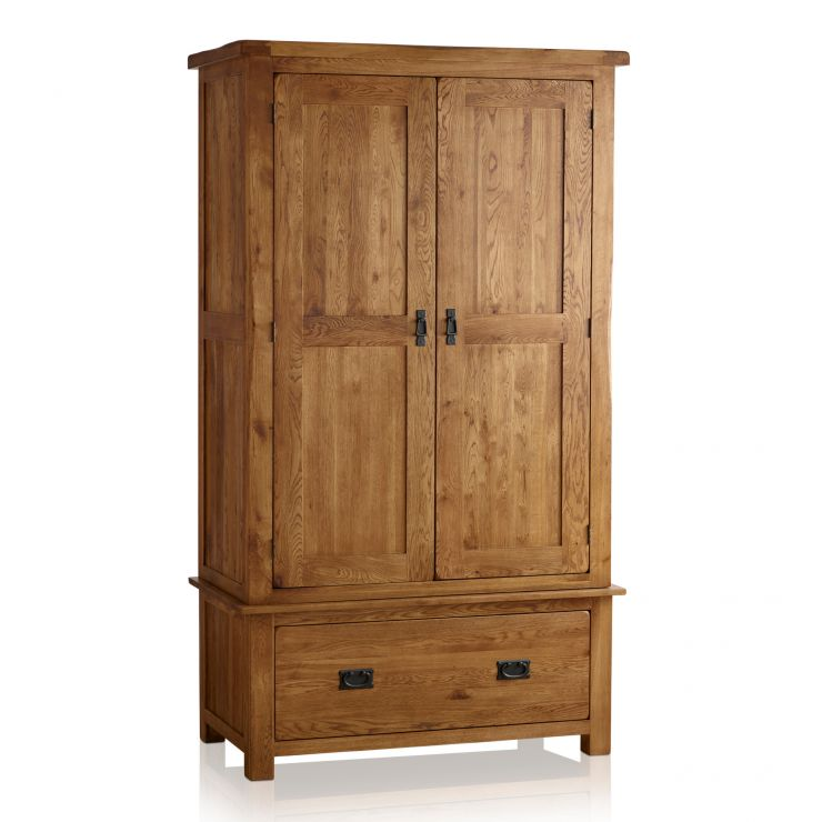 Original Rustic Solid Oak Double Wardrobe - Image 1