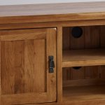 Original Rustic Solid Oak Large TV Cabinet - Thumbnail 5