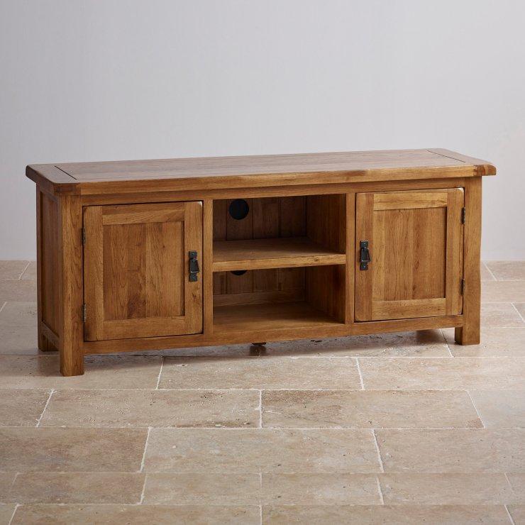 Original Rustic Solid Oak Large TV Cabinet