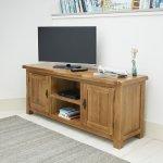 Original Rustic Solid Oak Large TV Cabinet - Thumbnail 3